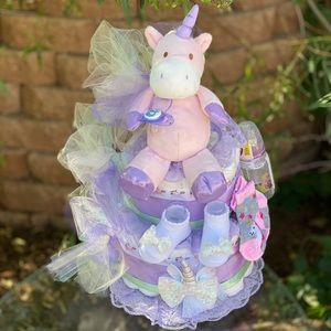 Unicorn Diaper Cake. Baby Shower Theme